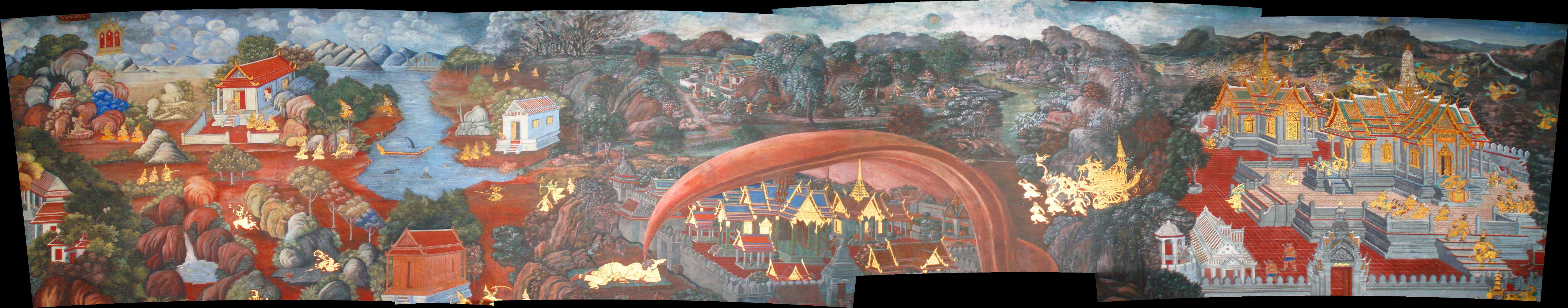Wandmalerei im Königspalast in Bangkok