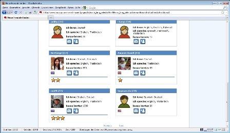 Die Ergebnisse bei der Suche nach Freunden bei Busuu.com