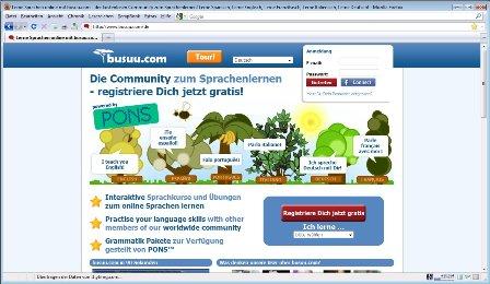 Startseite von Busuu.com